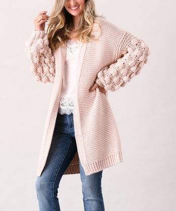 Pink Pom Pom-Sleeve Cardigan - Plus 664add713