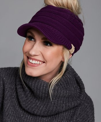 9278f9d330c Dark Purple Brimmed Bun Beanie - Women