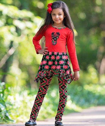 44a63b9fb Red & Black Plaid Poinsetta Dress Set - Toddler & Girls