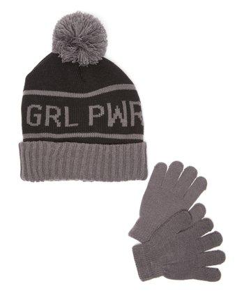 5b939c4ba72 Black   Smoke  Grl Pwr  Pom-Pom Beanie   Gloves