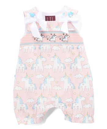 e2ee8298334d Pink   Turquoise Unicorn Smocked Ruffle Romper - Infant   Toddler