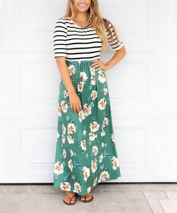 5e977ccf1bd Green Floral   Stripe Maxi Dress - Women