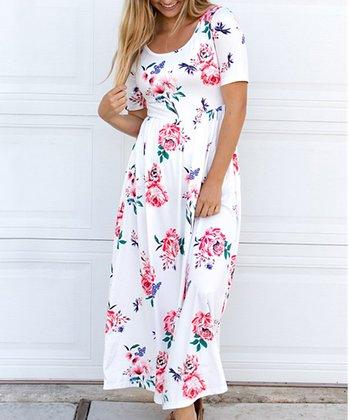 ea2da86a8ca White   Pink Floral Maxi Dress - Women
