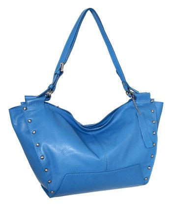 Blue Adriana Leather Satchel