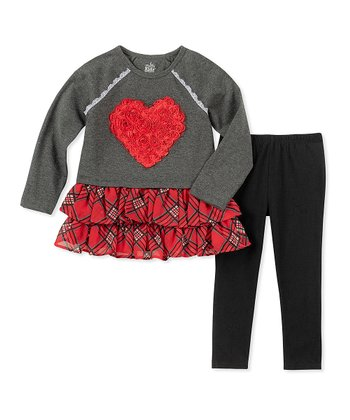 d305c5379f481 Red & Charcoal Tutu Top & Leggings - Girls