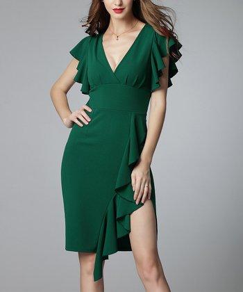 56fba64026ee3 Dark Green Ruffle Split-Hem Flutter-Sleeve V-Neck Dress - Women · White Ruffle  Split-Hem Off-Shoulder Sweetheart ...
