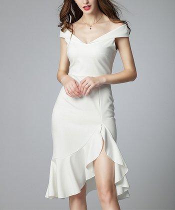 557f8aedca7f3 White Ruffle Split-Hem Off-Shoulder Sweetheart Dress - Women