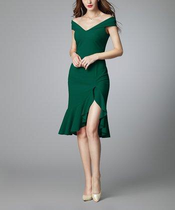 de08cd505d3f9 Dark Green Ruffle Split-Hem Off-Shoulder Sweetheart Dress - Women