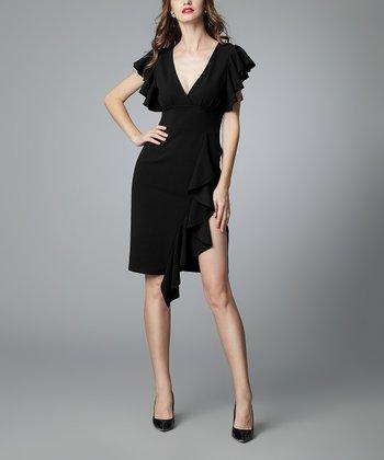 bfababe50c646 Black Ruffle Split-Hem Flutter-Sleeve V-Neck Dress - Women