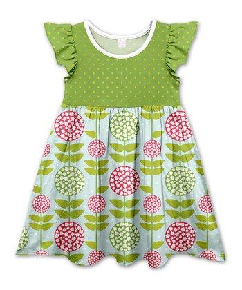 eab1f053db83d Olive Dots   Sky Blue Floral Angel-Sleeve A-Line Dress - Girls