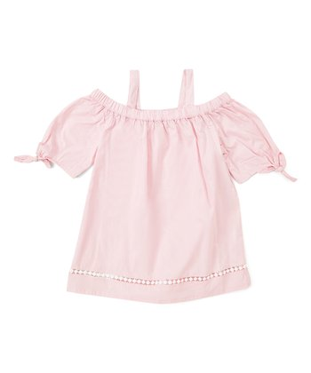 a830b241226d16 Garden Pink Tie-Sleeve Cold-Shoulder Top - Girls