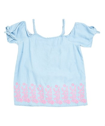 c09607423f0442 Denim & Pink Embroidered Cold-Shoulder Top - Girls