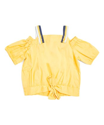 78fc5dedbe7e0b Yellow Cold-Shoulder Tie-Front Top - Girls