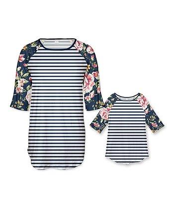 deea38582e913 White   Navy Floral Stripe Raglan Tunic - Girls