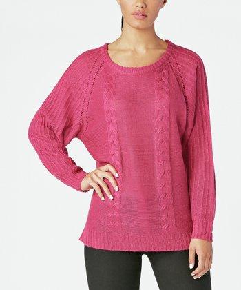 5f84fc005dc Festive Fuchsia Dolman Sweater - Women. Red Velvet Drapey Tunic ...