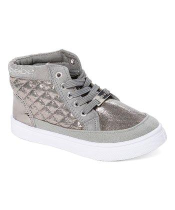 818225aa089c Silver Quilted Metallic Hi-Top Sneaker - Girls