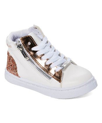 8621224e05b0 White   Rose Gold Metallic Side-Zipper Hi-Top Sneaker - Girls