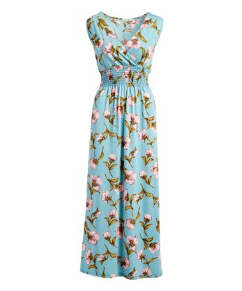 71927bf9551 Teal Floral Sleeveless Surplice Maxi Dress - Women   Plus
