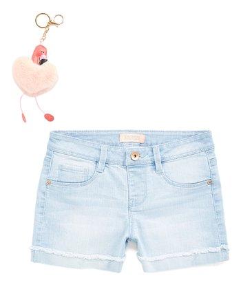 af3ead229 Light Blue Lisa Wash Jean Shorts & Pink Flamingo Key Chain - Girls