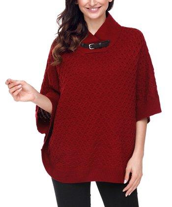 622e1ca89b Burgundy High-Neck Waffle-Knit Poncho - Women