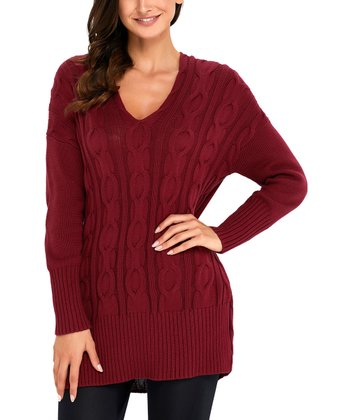 e461f5d788 Wine Cable-Knit Oversize Sweater - Women