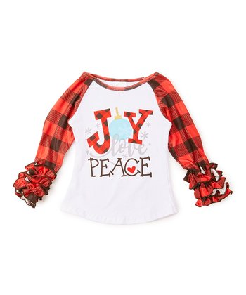 00212b39f Red & Black Plaid 'Joy, Love, Peace' Raglan Tee - Newborn