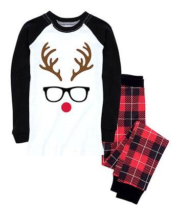 Red   Black Buffalo Plaid Reindeer Face Pajama Set - Kids a92a1eb1d