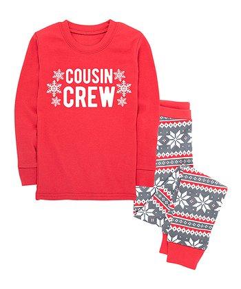 a80859806 Red & Gray Fair Isle Snowflake 'Cousin Crew' Pajama Set - Infant