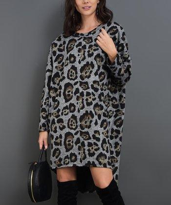 546113fa08d3 Gray Leopard Coleen Shift Dress - Women