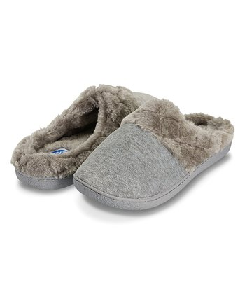 77d543e8ccc Gray Faux Fur-Lined Velour Clog Slipper - Women