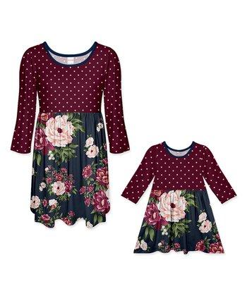 2ecb767e5daf5 Plum   Dark Navy Floral Polka Dot A-Line Dress - Girls   Women