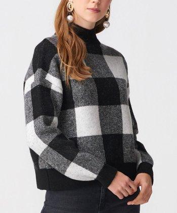 d4cf7d229e55d Black   Ecru Buffalo Check Turtleneck Sweater - Women