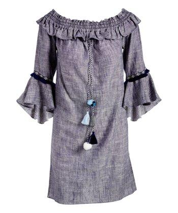 45f84370a Flecked Blue Ruffle-Trim Bell-Sleeve Shift Dress - Women