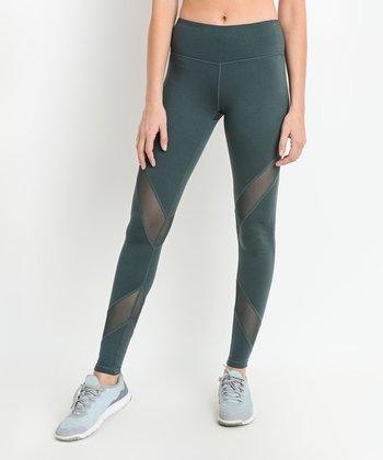 7d63b49aad8e8 Green Crisscross Mesh Panel Leggings - Women. Gray   Black Abstract High  Waist Contrast Full Leggings. Dark Violet Color Block Mesh Sports Bra ...