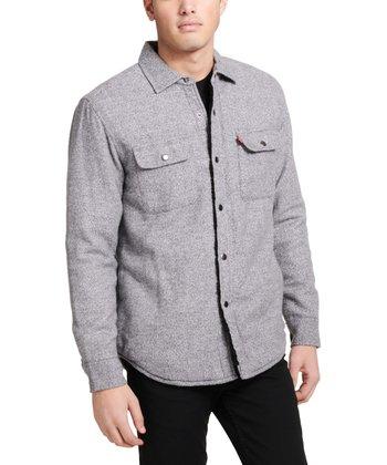 e540a6dfd24af Light Gray Fleece-Lined Shirt Jacket - Men · Denim Collar ...