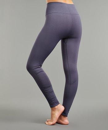 2cb78b9793d749 Gray Ruched-Accent Seamless Tummy-Control High-Waist Leggings - Women & Plus
