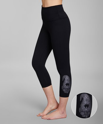 59e0274aec Black Paisley Tummy-Control High-Waist Capri Leggings - Women & Plus