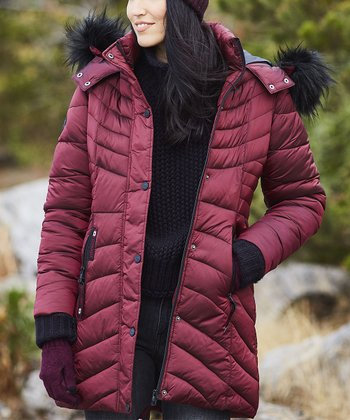 408caf04a5b Wine   Black Faux Fur Trim Hooded Puffer Coat - Plus