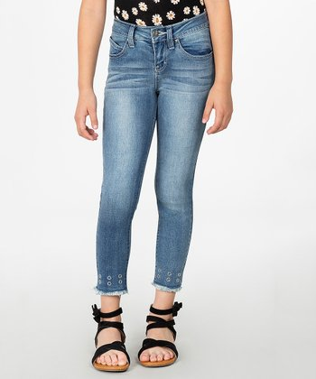 b8de6d60 Blue Frayed Hem Skinny Jeans - Girls