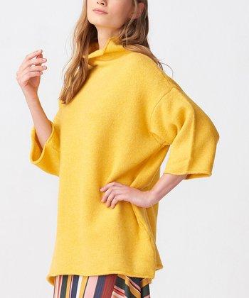 513d6e60a81be Yellow Three-Quarter Sleeve Mock Neck Sweater - Women
