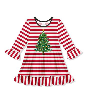 ac18b3def4 Red   White Striped Holiday Tree Ruffle Shift Dress - Toddler