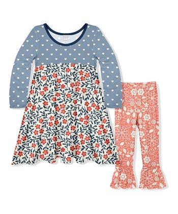 40d8a386a39c6 Blue   Peach Floral Babydoll Dress   Ruffle Pant - Girls