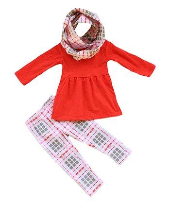8b5fb8419 White & Pink Plaid Leggings Set - Newborn & Infant