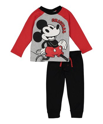 bc17b6a8c426 Mickey Mouse  Original  Long-Sleeve Top   Black Joggers - Infant