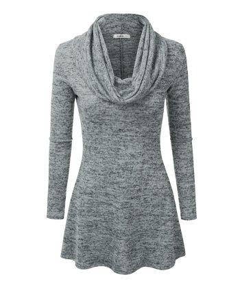 26796b1b231e1c Dark Gray Long-Sleeve Cowl Neck Tunic - Plus