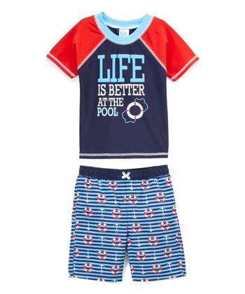474cd4319f Blue 'Life Is Better at the Pool' Rashguard Set - Infant