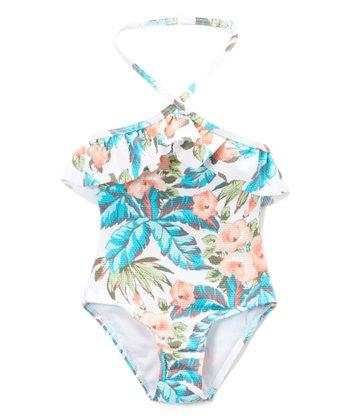32dd4172c78 White Palm Floral Hana Halter One-Piece - Girls