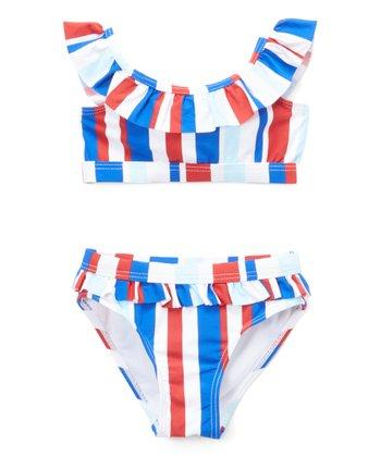 0496c346494 Blue & Red Stripe Ruffle Bikini - Girls