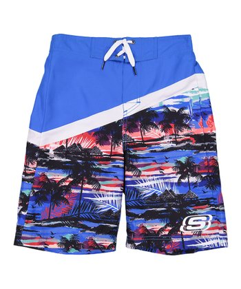 1076bff72a Blue & Navy Diagonal Boardshorts - Boys