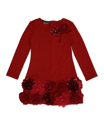 f862876d46 Red Rose-Accent Dress - Toddler
